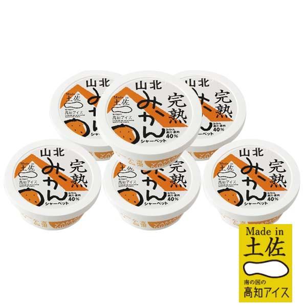 高知アイス 完熟山北みかんシャーベット6個/ミカン/Made in土佐/完熟みかん