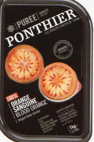 冷凍 フランス産 高級ブラッドオレンジ(オレンジサンギン) ジュース 1kg 無糖 100% ポンティエ社 人工着色料、香料不使用