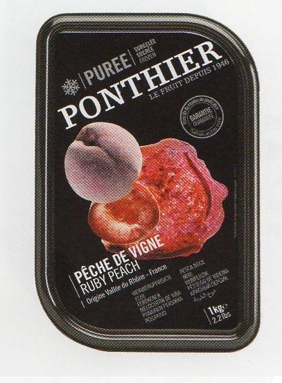 冷凍 フランス産 高級ペーシュ ヴィーニュ(赤桃)ピューレ 1kg 100% 加糖 ポンティエ社 人工着色料、香料不使用