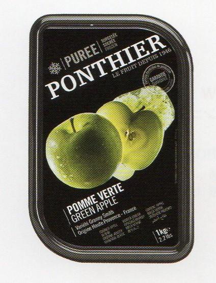 冷凍 フランス産 高級青りんごピューレ 1kg 100% 加糖 ポンティエ社 人工着色料、香料不使用