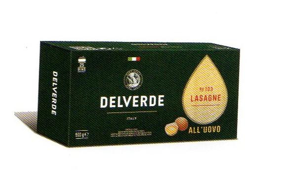 イタリア産 最高級デルヴェルデ(Delverde)N.103 ラザニア(ラザーニャ)卵入り   平パスタ 500g×16パック 業務用