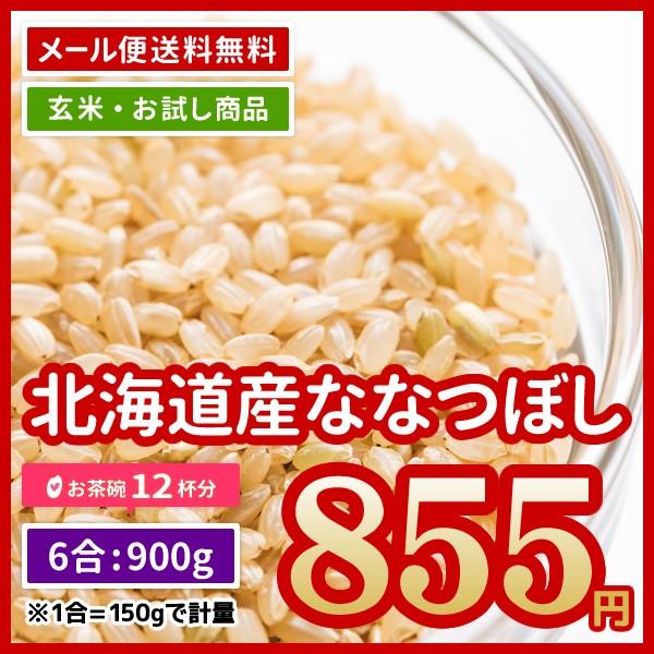 玄米 送料無料 ポイント消化 北海道産 ななつぼし 900g (450g×2) 6合 お試し 令和元年産 お米 食べきり ※ゆうパケット配送・日時指定