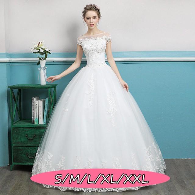 b0c464069e92a ウェディングドレス 結婚式ワンピース 編み上げタイプ 大人エレガント 優雅 花柄 ロング丈ワンピ-ス ホワイト色