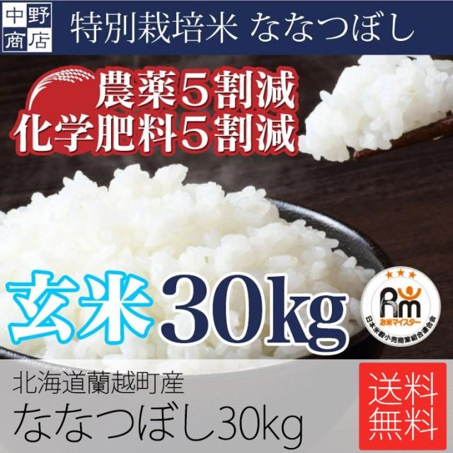 玄米でお届け限定価格!特別栽培米 減農薬栽培米 玄米 米 送料無料/北海道産 ななつぼし 30kg 特別栽培米(節減対象農薬5割減・化学肥料5
