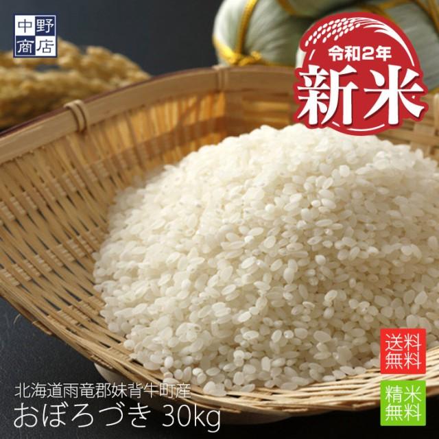 新米 無農薬 米 玄米 北海道産 おぼろづき 30kg 特別栽培米(節減対象農薬 栽培期間中不使用 化学肥料(窒素肥料)栽培期間中不使用)