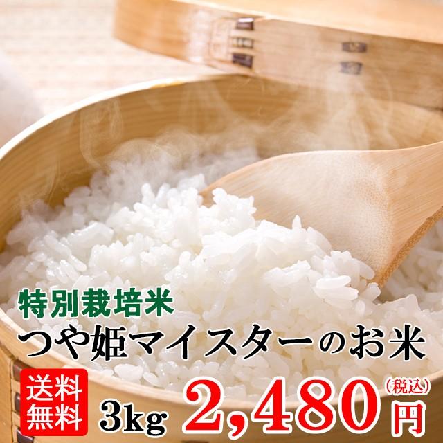 令和元年産 送料無料 山形つや姫マイスターのお米 3kg 北海道・九州・沖縄へは追加送料がかかります。