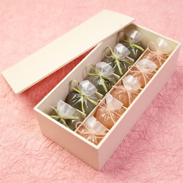 送料無料 ホワイトデー ギフト スイーツ 恋桜(こいざくら)5個・葛まんじゅう(抹茶)5個 木箱入り 可愛い桜のひとくち羊羹 京都 和菓