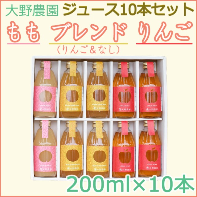 フルーツジュース200ml10本入ギフト(りんご×4本、ブレンド×4本、もも×2本)