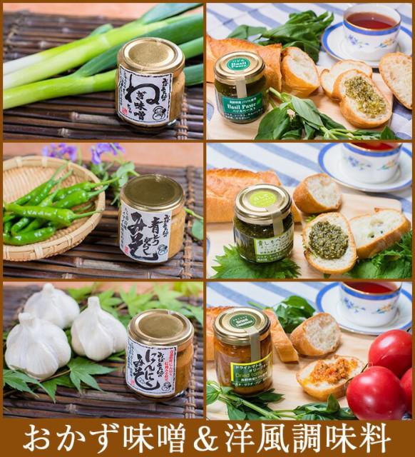 おかず味噌3種+洋風調味料3種(にんにく味噌、ねぎ味噌、青とうがらし味噌、バジルぺースト、青じそペースト、ドライトマトペースト)