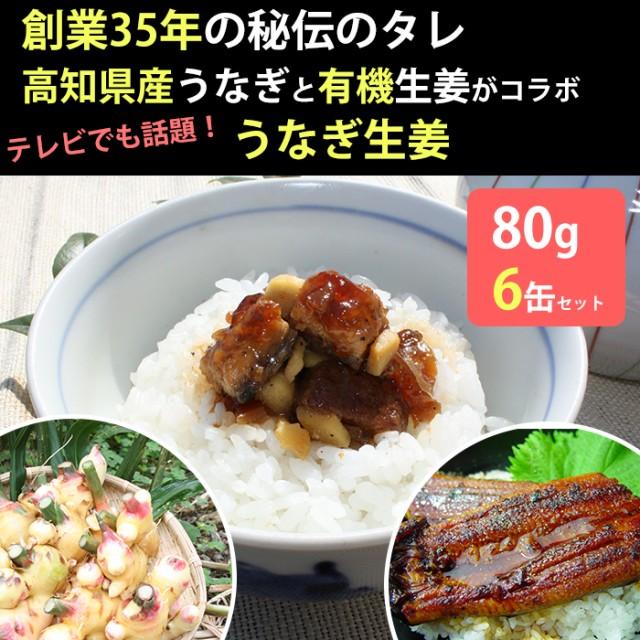 うなぎ生姜 6瓶セット 佃煮/有機栽培の黄金生姜で甘辛く煮付け (お歳暮のし対応可)