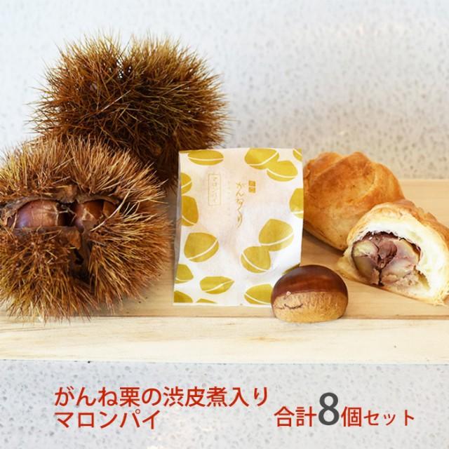 がんね栗の渋皮煮入り マロンパイ (1箱4個入り)×2セット 合計8個 がんね栗の里