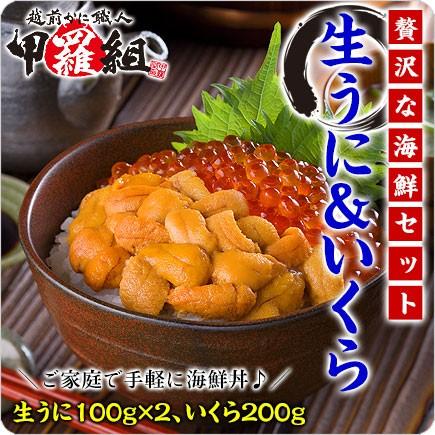 【送料無料】無添加生うに&北海道完熟いくら醤油漬け贅沢セット約4人前【雲丹】【ウニ】