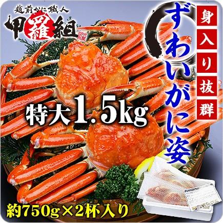 【送料無料】ボイルずわいがに姿1.5kg(750g前後×2ハイ)※食べ方説明書同封 御歳暮 のし かに カニ kani