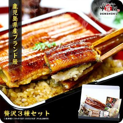【送料無料】鹿児島県産の贅沢うなぎ3種食べ比べセット(長蒲焼き・カット・きざみ・タレ&山椒付)