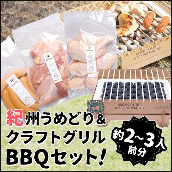 【BBQセット】鶏肉 紀州うめどり & 使い捨てコンロ クラフトグリル (2人用) BBQ、家飲み、パーティーに【紀の国みかん鶏での代用出荷】