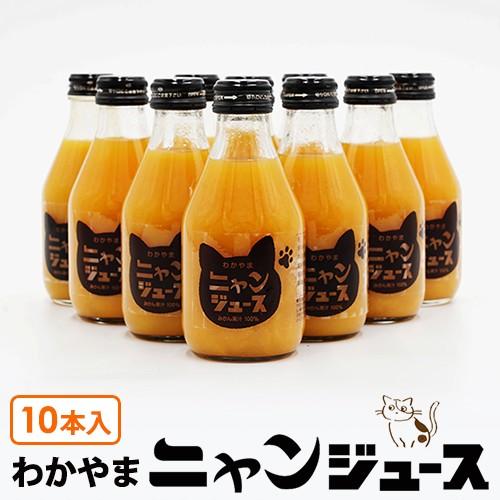 わかやま ニャンジュース 180ml瓶×10本入 (和歌山みかん100% ストレート 保護猫活動 オレンジジュース)