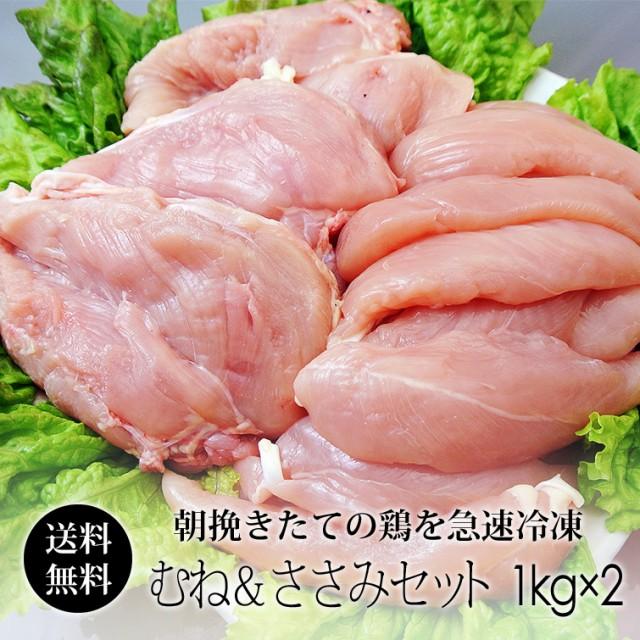 鶏肉 紀州うめどり 2kgセット (むね肉 & ささみ) (冷凍) 国産 和歌山県産 鶏ムネ肉 ササミ 送料無料 【紀の国みかん鶏での代用出荷】