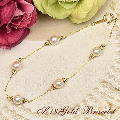 18金 アコヤ真珠 ブレスレット K18 イエローゴールド 18k かわいい おしゃれ シンプル 天然パール レディース:Ar51
