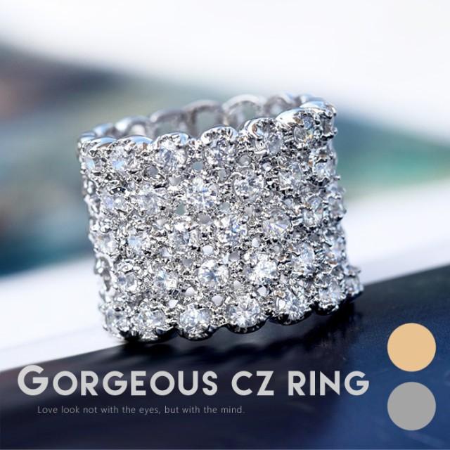 リング 指輪 太め ごつめ 幅広 ワイド メンズライク レディース プレゼント きらきら 爪留 人気 ゴージャス