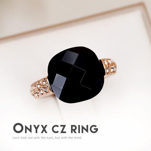リング 指輪 レディース ギフト カワイイ おしゃれ 知的 オニキス 黒めのう 上品 シック 記念日