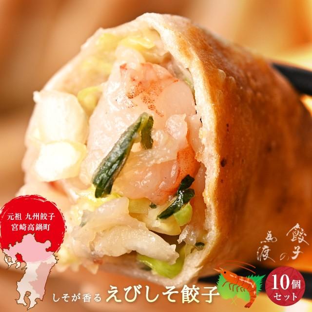 えびしそ餃子10個【宮崎 高鍋町】【冷凍餃子】【お取り寄せ】