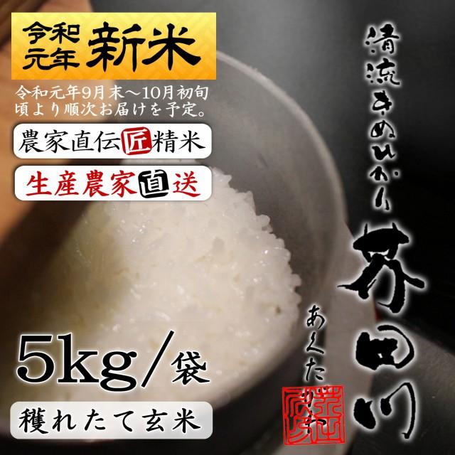 送料無料 新米 お米5kg袋 玄米にて 令和元年秋収穫 清流きぬひかり芥田川 農家直送 米5キロ