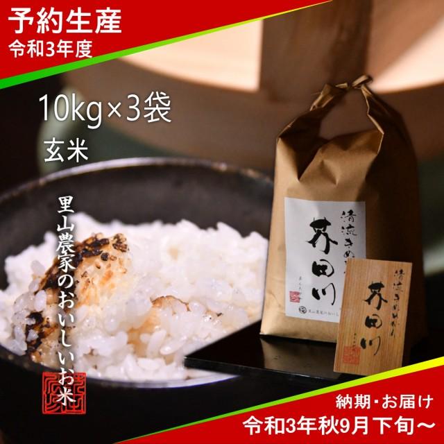 令和3年度 予約生産 お米 10kg×3 30kg 玄米 清流きぬひかり芥田川 送料無料 農家産地直送 令和3年秋9月下旬より順次出荷予定