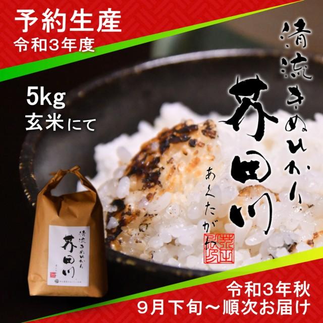 令和3年度 予約生産 お米 5kg 玄米 清流きぬひかり芥田川 送料無料 生産農家直送 令和3年秋9月下旬より順次出荷予定