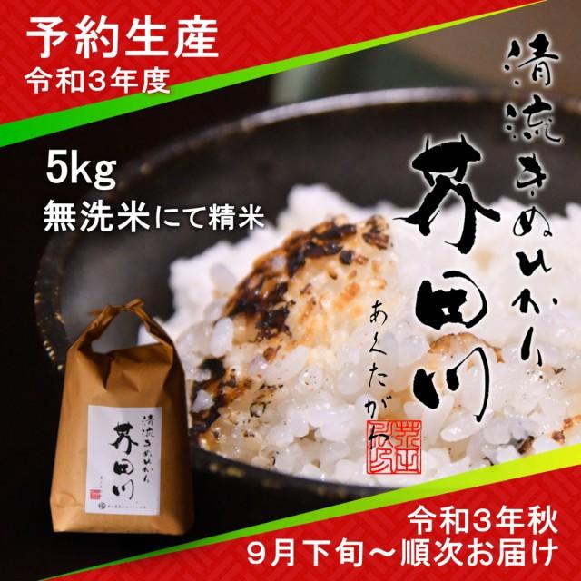 令和3年度 予約生産 お米 5kg 無洗米 にて精米 清流きぬひかり芥田川 送料無料 生産農家直送 令和3年秋9月下旬より順次出荷予定