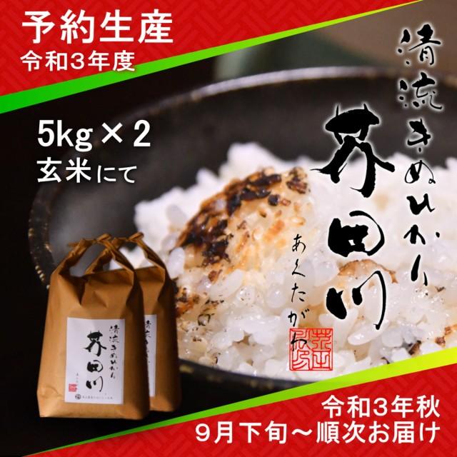 令和3年度 予約生産 お米 10kg 5kg×2 玄米 清流きぬひかり芥田川 農家産地直送 送料無料 令和3年秋9月下旬より順次出荷予定