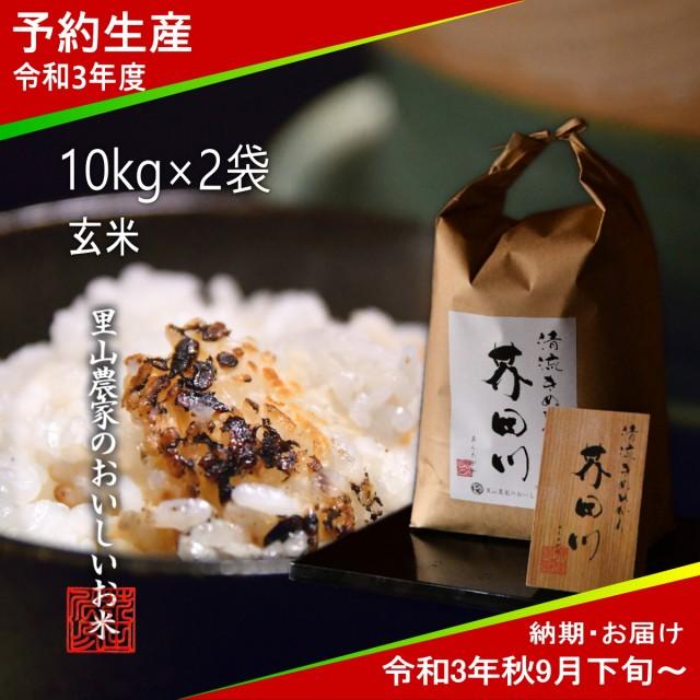 令和3年度 予約生産 お米 10kg×2 20kg 玄米 清流きぬひかり芥田川 送料無料 農家産地直送 令和3年秋9月下旬より順次出荷予定