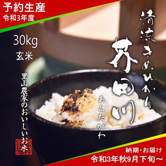 令和3年度 予約生産 お米 30kg 玄米 清流きぬひかり芥田川 送料無料 農家産地直送 令和3年秋9月下旬より順次出荷予定