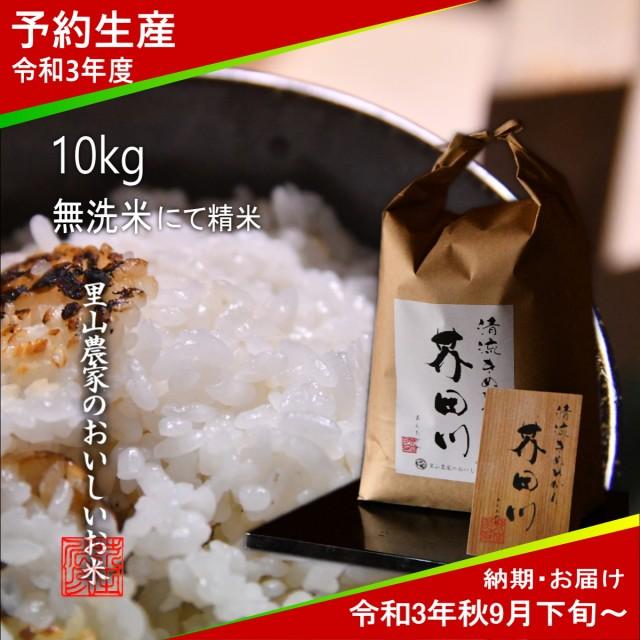 令和3年度 予約生産 お米 10kg 無洗米 精米 清流きぬひかり芥田川 農家産地直送 送料無料 令和3年秋9月下旬より順次出荷予定