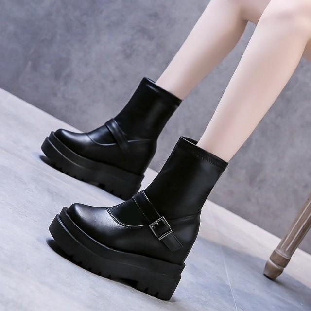 新作ショートブーツ レディース 黒 ショートブーツ レディース ブーツ 靴 厚底 10.5cm ショート ブーツ 歩きやすい XZ802