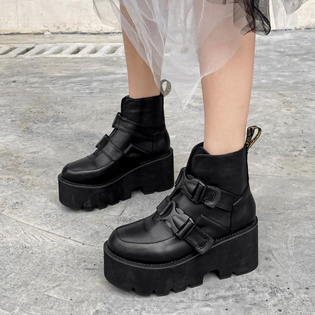 上品質 レディースイギリス風 7cm 美脚着痩せ 厚底大人気 ストラップ 舞台宴会ショートブーツ 履きやすい厚底ブーツ XLX5
