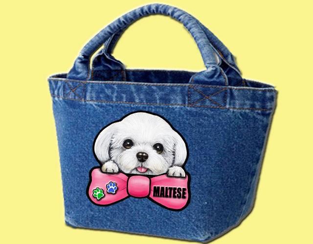 デニムバッグ/犬 かばん お散歩バッグ マルチーズ1 キャンバス雑貨グッズ犬雑貨