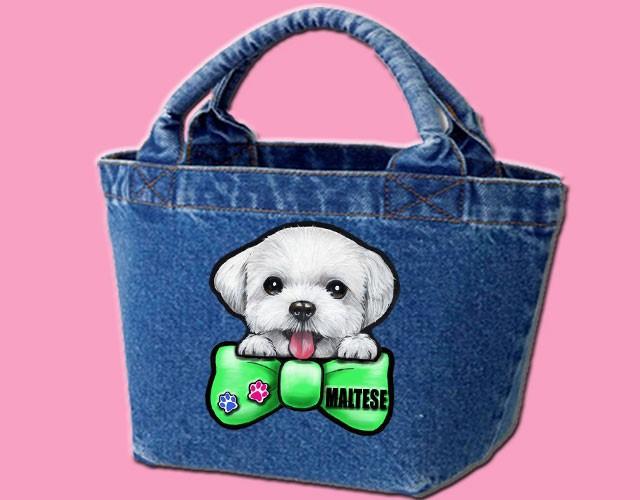 デニムバッグ/犬 かばん お散歩バッグ マルチーズ10-3 キャンバス雑貨グッズ犬雑貨