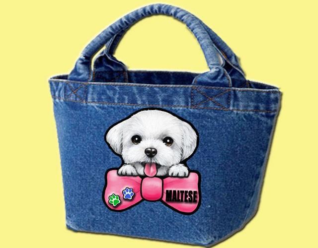 デニムバッグ/犬 かばん お散歩バッグ マルチーズ10 キャンバス雑貨グッズ犬雑貨