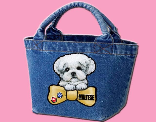 デニムバッグ/犬 かばん お散歩バッグ マルチーズ11 キャンバス雑貨グッズ犬雑貨