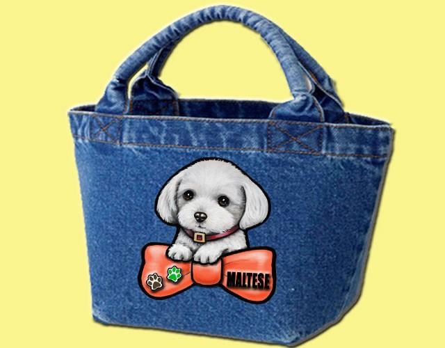 デニムバッグ/犬 かばん お散歩バッグ マルチーズ15 キャンバス雑貨グッズ犬雑貨