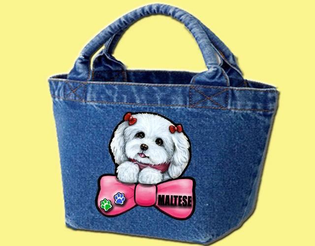 デニムバッグ/犬 かばん お散歩バッグ マルチーズ16 キャンバス雑貨グッズ犬雑貨