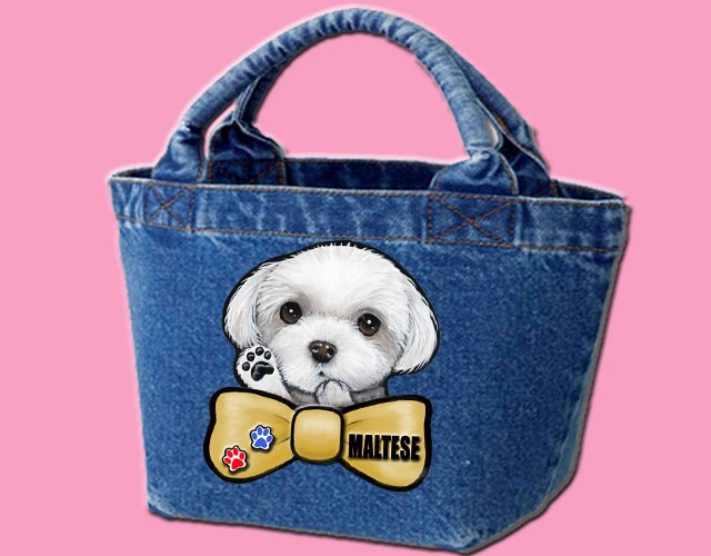 デニムバッグ/犬 かばん お散歩バッグ マルチーズ17 キャンバス雑貨グッズ犬雑貨