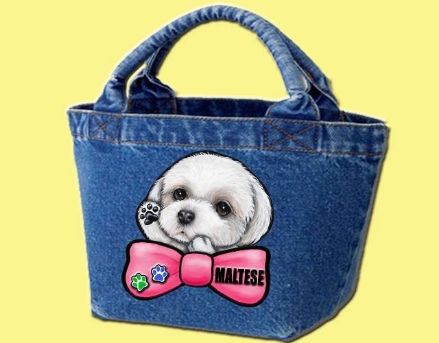 デニムバッグ/犬 かばん お散歩バッグ マルチーズ18-2 キャンバス雑貨グッズ犬雑貨