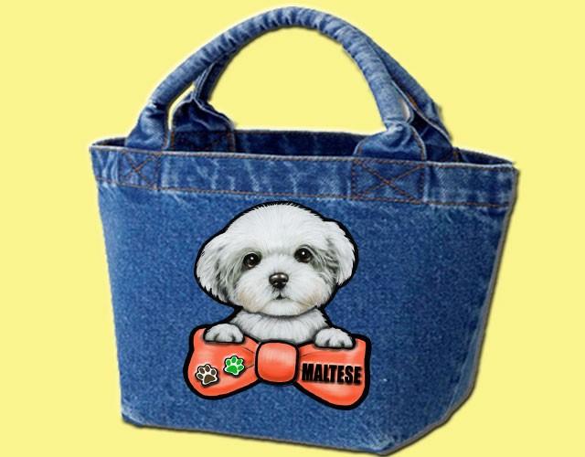 デニムバッグ/犬 かばん お散歩バッグ マルチーズ2 キャンバス雑貨グッズ犬雑貨
