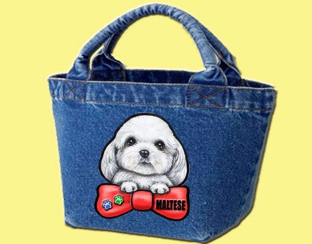 デニムバッグ/犬 かばん お散歩バッグ マルチーズ4 キャンバス雑貨グッズ犬雑貨