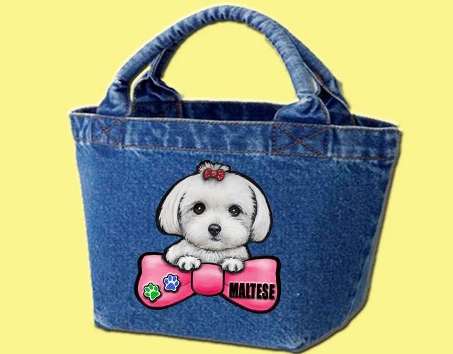 デニムバッグ/犬 かばん お散歩バッグ マルチーズ7 キャンバス雑貨グッズ犬雑貨