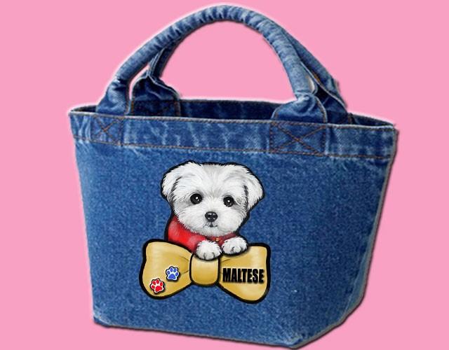 デニムバッグ/犬 かばん お散歩バッグ マルチーズ8 キャンバス雑貨グッズ犬雑貨