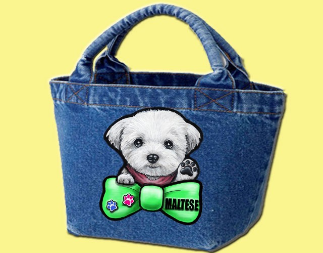 デニムバッグ/犬 かばん お散歩バッグ マルチーズ9 キャンバス雑貨グッズ犬雑貨