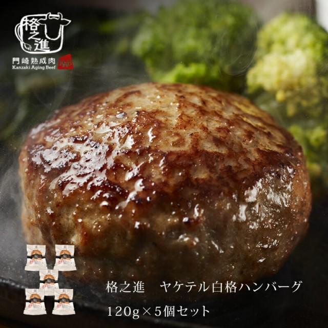 ハンバーグ 温めるだけ 冷凍 送料無料 格之進 ヤケテル白格ハンバーグ (約120g×5個セット) 黒毛和牛 白金豚 無添加