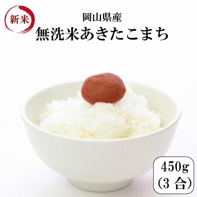 米 ポイント消化 送料無料 450g 食品 米 お試し 無洗米 令和元年産岡山県産あきたこまち無洗米 450g(3合)1kg未満 代金引換不可